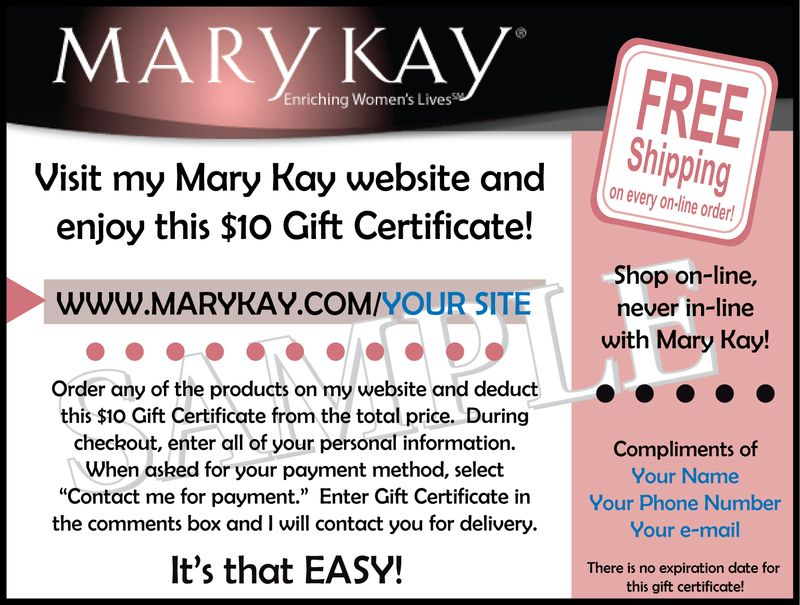 Mary Kay - Website Gift Certificate